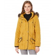 YMI Snobbish Faux Fur Lined Parka with Faux Fur Trim Hood Mustard