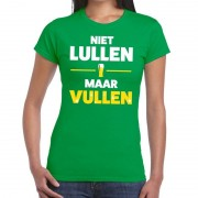 Bellatio Decorations Niet Lullen maar Vullen fun t-shirt groen voor dames S - Feestshirts