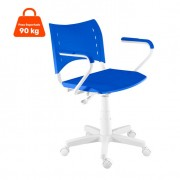 Cadeira de Escritório Secretária Evidence Ajustável Branca e Azul