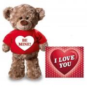 Bellatio Decorations Valentijnskaart en knuffelbeer 24 cm Be mine rood shirt