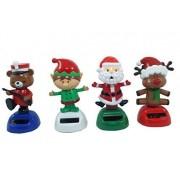 Set of 4 Solar Powered Dancing Figurines (Santa, Elf, Red Nosed Reindeer and Bear)