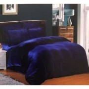 Set Lenjerie de pat dublu pufoasa Cocolino Uni 4 piese plus 2 perne 50x70 cm cadou albastru imperial
