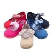 Pisamonas Sapatos Merceditas Lona Velcro com Laço de Vichy