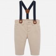 Pantaloni captusiti cu bretele bebe baiat, bej
