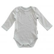 Body alb simplu maneca lunga cusatura decorativa pentru bebelusi