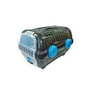 Caixa De Transporte Furacão Pet Luxo Preto Com Azul - Tam. 1