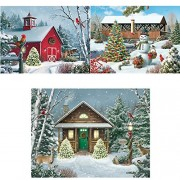 Bits and Pieces - Set of Three (3) 300 Piece Jigsaw Puzzles for Adults - Winter Barn II, Countryside Christmas, Christmas Cabin - 300 pc Holiday Snow Snowman Jigsaws by Artist Alan Giana