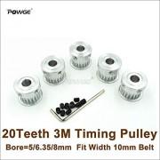Ochoos 5 piezas 20 dientes 3 M Agujero de la polea de distribución 5/6.35/8 mm de ancho, 10 mm HTD 3 M Cinturón 20T HTD3M máquina de grabado CNC, 5 mm