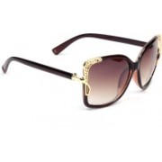 Eyeland Rectangular, Over-sized Sunglasses(Brown, Clear)