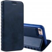 Para IPhone 8 Y 7 Retro Textura Con Absorción Horizontal PU Funda De Cuero Flip Con El Titular Y Ranuras De Tarjeta (azul)