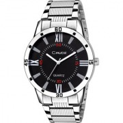 Crude Analog Watch Black Color Dial With Stainless Steel Strap For Men's Boy's