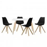 [en.casa] Mesa de comedor diseño - blanco - Set de sillas con estilo elegante - negro - 120 x 80 x 75cm