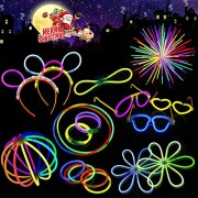 Betheaces Glow Sticks Bracelet and Necklace Light Up In The Dark, Connected Tubes To Glow Headband Glasses for Party Supplies and Vocal Concer with 225 PCS Mixed Colors
