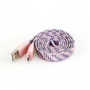 Кабел Sbox USB-103CF-P, от USB A(м) към USB Micro B(м), 1m, плосък с оплетка, розов
