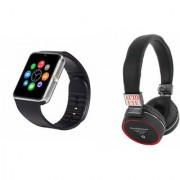 Zemini GT08 Smart Watch and SH 10 Bluetooth Headphone for SAMSUNG GALAXY MEGA PLUS(GT08 Smart Watch with 4G sim card camera memory card |SH 10 Bluetooth Headphone )