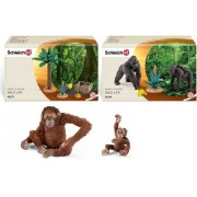 Schleich Monkey Family Set 8 Styles: Includes Mandrill, Gibbon, Gorilla, And Chimpanzee