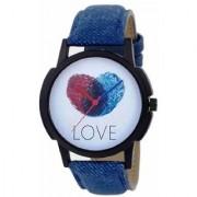 New Finger Print Love Analog Blue Leather Belt Stylist Looking Watch