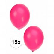 Shoppartners Neon roze ballonnen in zakje van 15 stuks