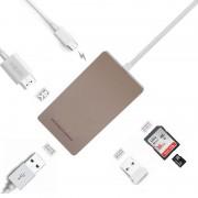 Adaptor C-Type USB 3.0 Gold , 4K HDMI HD, port USB 3.0, slot SD pentru MacBook YC-210
