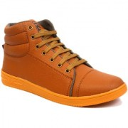 Shoegaro Men's Tan Synthetic Leather High Ankle Casual Boots
