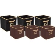 Billion Designer Non Woven 6 Pieces Small & Large Foldable Storage Organiser Cubes/Boxes (Black & Coffee) - CTKTC35363 CTKTC035363(Black & Coffee)