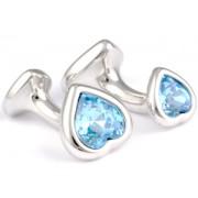 Mousie Bean Crystal Cufflinks Double Heart 130 Aqua