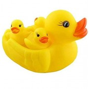 HK Toys Squeezy Chu Chu Ducks, Duck Family, Bath Rubber Toy, Set of 4