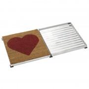 Plus Danmark Deurmat rooster verzinkt Cubic met kokosmat rood hart 40 x 80 x 3,5 cm