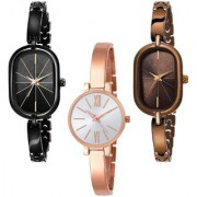Varni Retail Oval Rectangle Full Black And Brown Full RoseGold Round Dial 3 Combo Watch For Girls