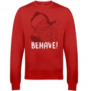 Behave Christmas Sweatshirt - Red - M - Red