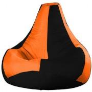 Ink Craft Orange Black Hi-Back Gamer Bean Bag Chair - XL Size