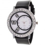 TRUE COLORS Glory Black Diamond Fancy Letest Butterfly Print Collection Analog Watch - For Women by japan store