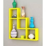 Onlineshoppee Wooden Handicraft Yellow Designer L Shape Wooden Wall Shelf