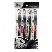 DENTAL CARE «Nano Charcoal Toothbrush Set» Зубная щётка c древесным углём и сверхтонкой двойной щетиной (средней жёсткости и мягкой), 4 шт.