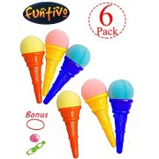 FUNTIVO Ice Cream Shooters with Plastic Cone and Sponge Ball, 5 Inches Ice Cream Shooter Toy - Random Colors (Pack of 6)