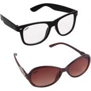 Aligatorr Combo Of 2 Cat Eye Wayfarer Unisex Sunglasses ldy brnltmeCRLK