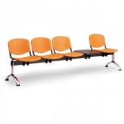Kovo Praktik Plastové lavice ISO II, 4-sedák + stolek, chrom nohy zelená