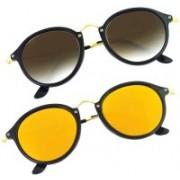 Phenomenal Cat-eye, Round Sunglasses(Brown, Yellow)