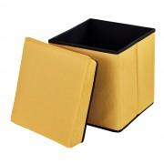 [en.casa]® Skládací taburet - textil - horčicově žlutý - 38 x 38 x 38 cm