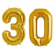 De-Ultimate Solid Golden Color 2 Digit Number (30) 3d Foil Balloon for Birthday Celebration Anniversary Parties