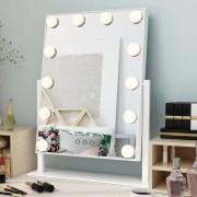 Faseras Make-up Spiegel met Verlichting - Hollywood Spiegel - Dimbaar - 12 LED - Wit - 36.5 x 8.5 x 47.5cm