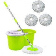 Universal Cleaning Green Spin Mop With Bucket(4 Refill)