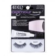 Ardell Glamour 105 odstín Black sada umělé řasy Glamour 1 pár + lepidlo na řasy LashGrip 2,5 g + aplikátor 1 ks pro ženy