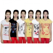 IndiWeaves Women Cotton Pink T-Shirt COMBO OFFER ( Pack of 6 T-Shirts)