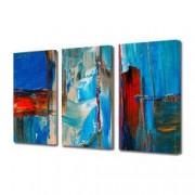 Tablou Canvas Premium Abstract Multicolor Albastru-Rosu Decoratiuni Moderne pentru Casa 3 x 70 x 100 cm