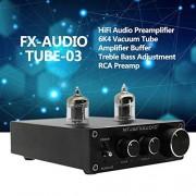 Festnight FX-Audio TUBE-03 Mini HiFi Audio Preamplificador 6K4 Amplificador de Tubo de aspiradora Buffer Ajuste de Graves de Ajuste RCA Preamp Negro US Plug