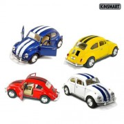 Set of 4 Cars: 5 Classic 1967 Volkswagen Beetle with Racing Stripes 1:32 Scale (Blue/Red/White/Yellow)