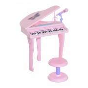 Homcom Fortepian Dla Dzieci Pianino Taboret Różowy