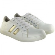 Blinder Women's White Golden Lines Lace-Up Casual Sneakers Shoes