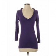 J.Crew Factory Store Long Sleeve Top Purple Solid Scoop Neck Tops - Used - Size Small